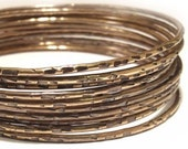 """Brass Bangles, Set Of Ten (10) Vintage Look """"Old City"""" Bangles, Antiqued Jewelry, Stacking Bangles, Gift For Her"""