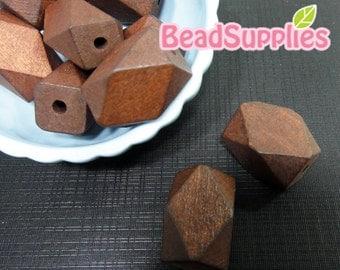 BE-WO-03002- Geometric rectangler wood beads,Walnut, 10 pcs