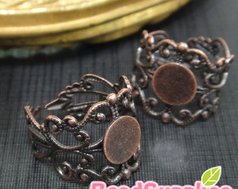 FN-RB-04010-Nickel Free, Lead Free, Antique red copper, Art Nouveau Filigree ring base with 8mm glue on pad, 10 pcs