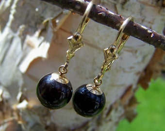 Black Onyx, 14K solid gold Lever back earrings