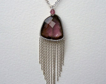 Watermelon Tourmaline, faceted slice, sterling silver coil wrap, sterling silver chain dangles, pendant, necklace