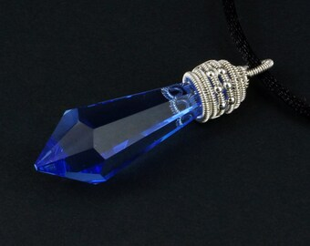 Sterling silver wrapped Blue Crystal Prism Necklace