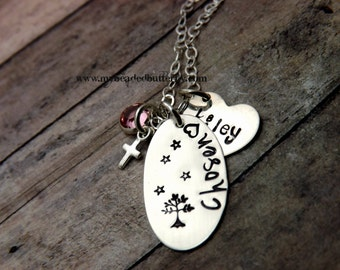 Adoption necklace-chosen-Mommy necklace-Handstamped-personalized-sterling silver necklace- three hearts with charms