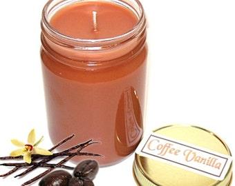 Coffee Vanilla Mason Jar Candle Coffee Scent 12 Oz Handmade