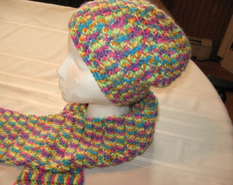 Crochet Slouchy Hat and Scarf Adult In Neon Colors