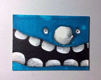 Blue Monster ACEO by Aaron Butcher