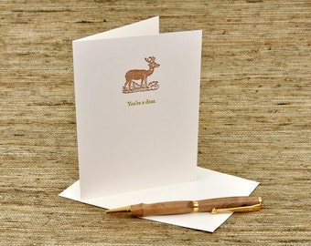 You're a Dear - punny letterpress card