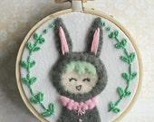 Embroidered Art Hoop - Woodland Bunny Girl