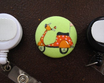 Orange Scooter or Moped Fabric Covered Button for Clip on Retractable Badge Reel