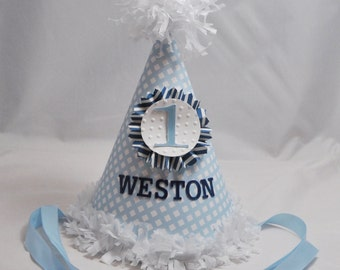 Gingham Party Hat- Boy 1st Birthday- Personalized