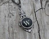 Grandmother Necklace, Nana Necklace, Vintage Typewriter, Grandma Necklace, Initial Necklace, Letter W,