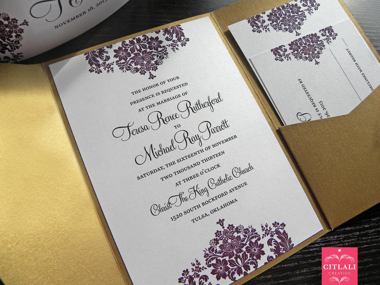 Baroque Wedding Invitations: Damask Wedding Invitation Baroque Pocket Folder By Citlali