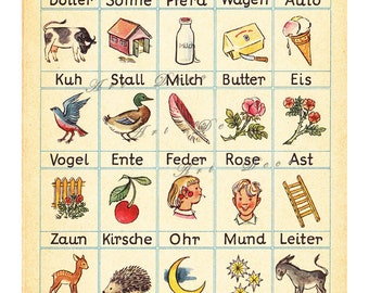 German words from Mein Erstes Buch, vintage printable digital collage sheet no. 381