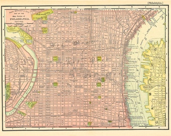 map of Philadelphia from around 1901, a vintage printable digital map, no. 676.