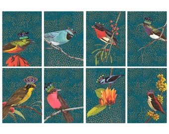 Vintage Bird Illustrations with Crowns....  digital collage sheet no. 408