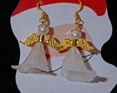 White & Gold Christmas Angel Earrings