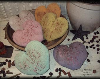 Primitive Valentines Conversation Heart Doll Ornie Bowl Fillers Handmade Prim