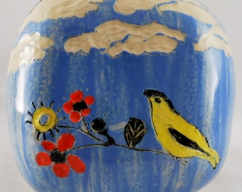 Bright Ceramic Wall Pocket with Clouds, Flowers and Finch Stoneware Clay Pottery