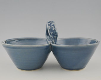 Two Bowl Condiment Server with Spoon Rest Wheel Thrown