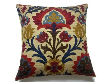 Decorative Pillow Cover Ikat Crimson Red Gold Navy Blue Light Blue Camel Same Fabric Front/Back Toss Throw Accent Cover 18x18 inch