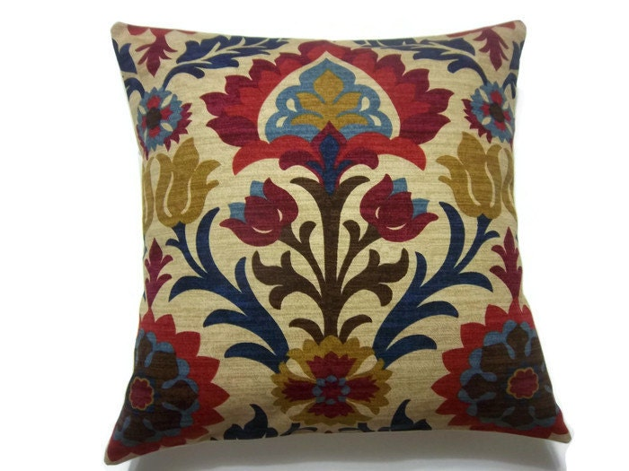 Decorative Pillow Cover Ikat Crimson Red Gold Navy Blue Light