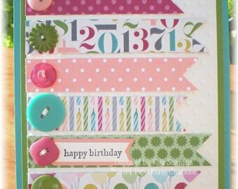Pennant Style Happy Birthday Card, Birthday Cards, Happy Birthday