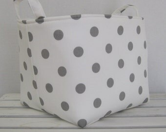 Fabric Organizer Bin Toy Storage Container Basket - Gray Dots on White Fabric  - 8 x 8 x 8