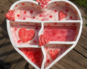 Hand Sculpted Ceramic Heart Shelf