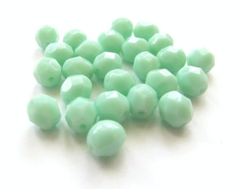 Opaque Pastel Jade Green Faceted Round Czech Glass Beads, 6mm - 25 pieces