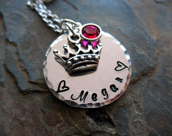 Hand Stamped Mothers Necklace, Mother's Day Gift, Personalized Jewelry, Princess Crown, Birthstone, Mom, Grandma, Nana, New Mom Jewelry
