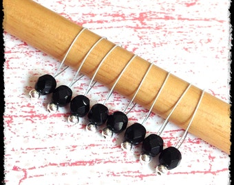 Snag Free Stitch Markers Large Set of 8 - Black Faceted Glass - N28 - Fits up to size US 17 (12.75) Knitting Needle