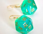D20 Twenty Sided Dice Earrings - Sparkle Green with Gold Numbers - Geeky Gamer Jewelry