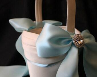 SALE-Ivory Flower Girl Basket Light Blue Blue Satin Ribbons-LAST ONE