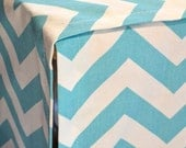 DESIGNER or Solid Canvas Dog Crate Cover - YOU Choose Fabric - Zig Zag Chevron in Girly Blue/White shown