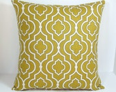 Moroccan Trellis decorative throw pillow cover Accent cushion sham slipcover in Mustard Yellow Gold.