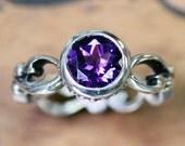 Purple amethyst ring, February birthstone ring, vintage ring, bezel set ring, amethyst engagement ring, silver amethyst ring custom, Wrought