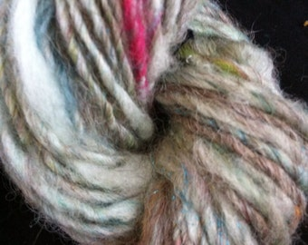 "Ooak Skein of ""Electric Storm"" Handspun and Hand Dyed Single Ply Sport Weight Yarn 75 Yards Wool"