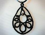 Pendant necklace tatted lace teardrop black