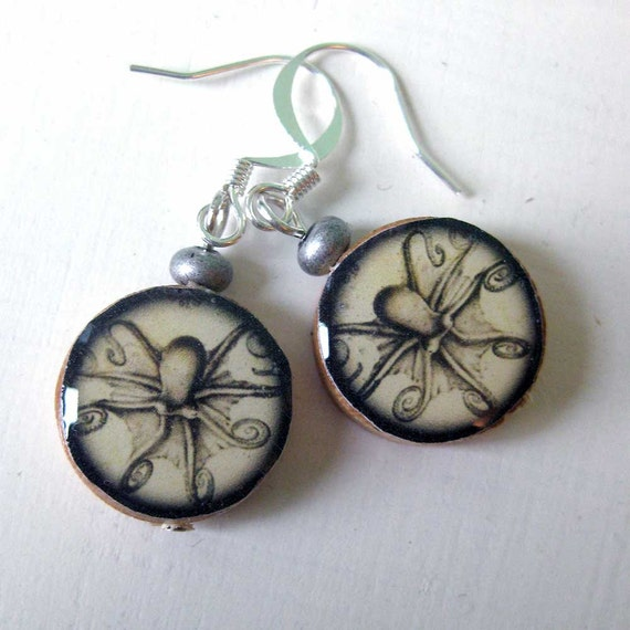Earrings made with illustrations from the H.M.S. Challenger expedition in 1873-1876