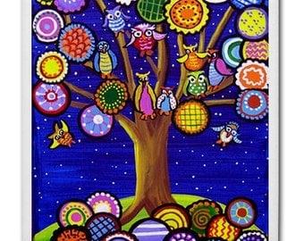 Owls Party in Tree Fun  Whimsical Folk Art Ceramic Tile