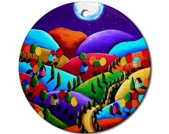 Peace Landscape 4  Folk Art Fun Whimsical Colorful Round Porcelain Ornament