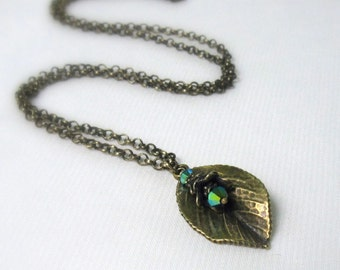 Bronze Leaf & Crystal Pendant, Antique Brass Woodland Necklace, Morning Glory Swarovski Crystal Drop... Autumn Jewelry