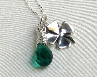 Lucky Shamrock Charm Necklace, Sterling Silver Wire Wrapped Green Quartz Briolette Pendant - May Birthday