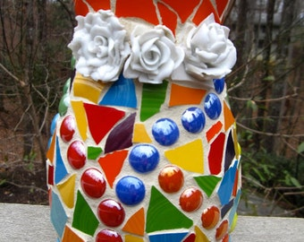 Pique Assiette Bright Colorful Pottery Mosaic Vase Glass Gems