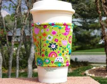 Fabric coffee cozy / cup sleeve / coffee sleeve / cup cozy // spring happiness