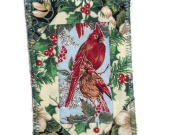 Fabric Postcard, Patchwork, Cardinal Pair