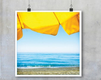 Azure Turquoise Blue Sea Sky Beach Yellow Sun Shade Umbrella in Crete - 7x7 12x12 15x15 18x18 22x22 inch square Fine Art Photo Prin