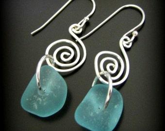 Ocean Blue Sea Glass Earrings - Sterling Silver, Seaglass Jewelry, Genuine Beach Tumbled