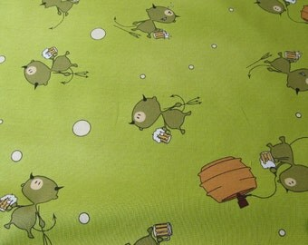 Devil Beer Keg Green Fabric - Half Yard