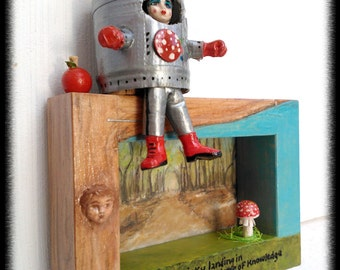 Original Mixed Media Wind Up Art Doll Diorama xxx A Tricky Landing in the Tree of Knowledge